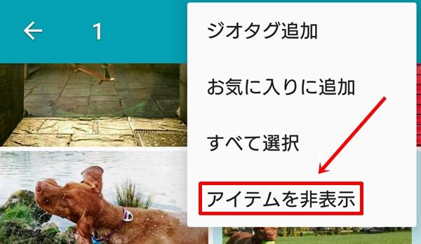 アルバムの画像を非表示2